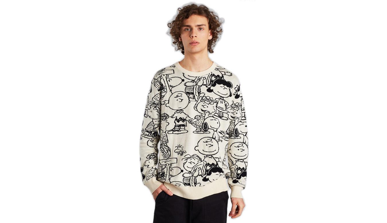 Dedicated Sweater Mora Peanuts AOP Off-White biele 18541 - vyskúšajte osobne v obchode