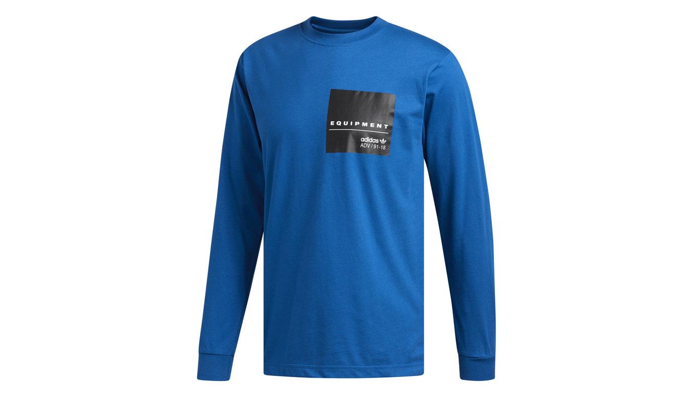 adidas EQT L/S GR Tee modré DH5229 - vyskúšajte osobne v obchode