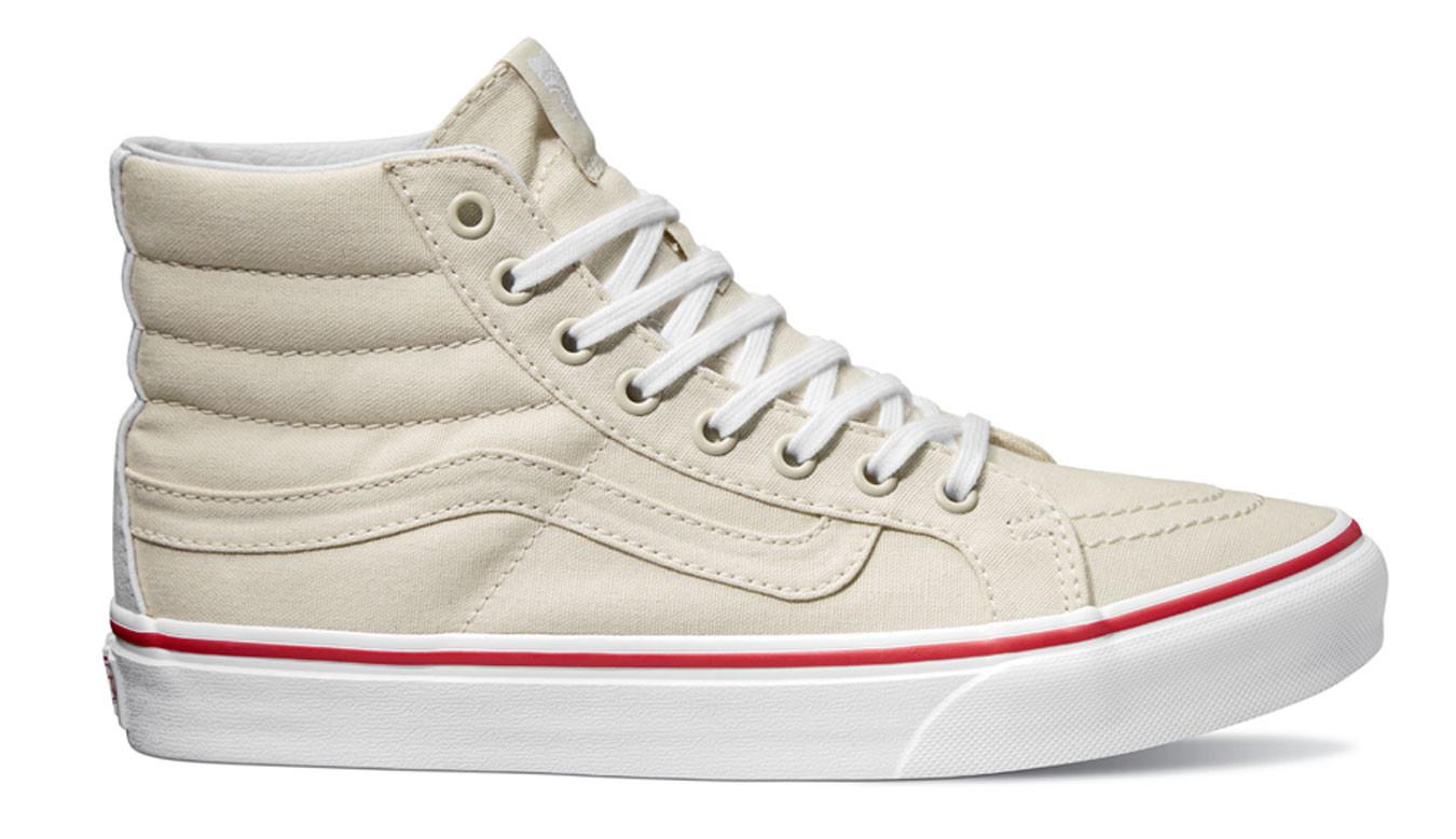 08538fab5 Biele tenisky Vans SK8-Hi Slim Leather Canvas - 48€ | VA32R2MXN | Shooos