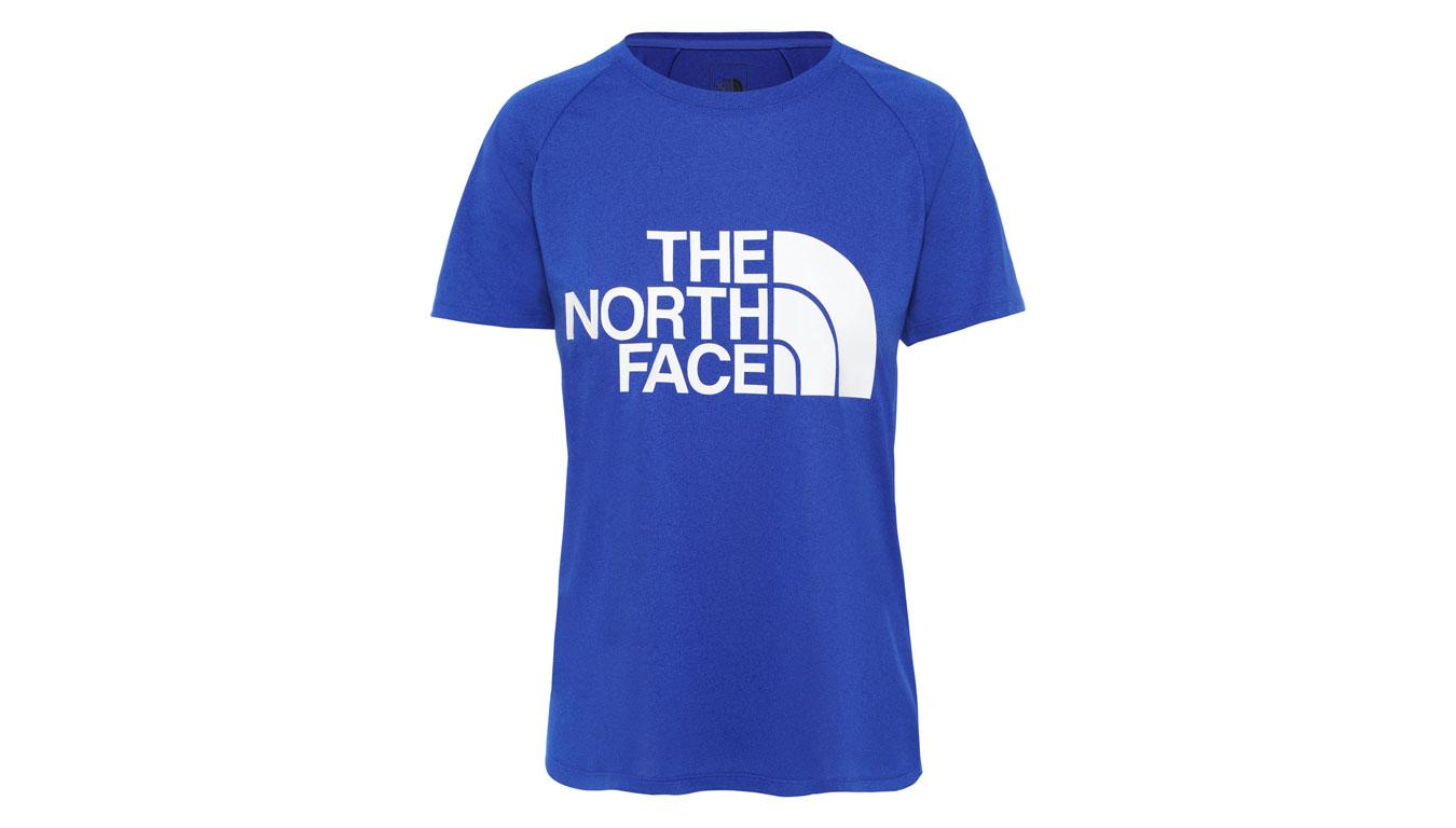 The North Face W Graphic Play Hard slim Fit Tee modré NF0A3YHKDW4 - vyskúšajte osobne v obchode